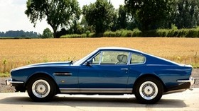 aston martin, v8, saloon, 1972, blue, side view, retro, aston martin, trees - wallpapers, picture