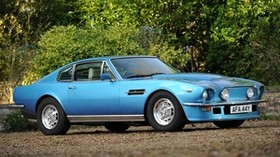aston martin, v8, vantage, 1977, blue, side view, auto, aston martin, trees - wallpapers, picture