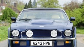 aston martin, v8, vantage, 1977, blue, front view, auto, trees - wallpapers, picture