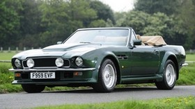 aston martin, v8, vantage, 1984, green, side view, convertible, trees - wallpapers, picture