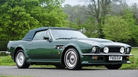 aston martin, v8, vantage, 1984, green, side view, style, aston martin, retro, trees - wallpapers, picture