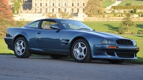 aston martin, v8, vantage, 1998, blue, side view, auto, aston martin, nature, trees - wallpapers, picture