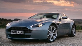 aston martin, v8, vantage, 2005, blue, front view, style, aston martin, sky - wallpapers, picture