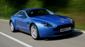 aston martin v8 vantage, 2005, blue, front view, style, asphalt - wallpapers, picture