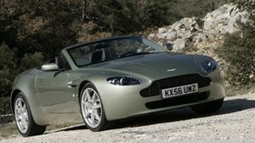 aston martin, v8, vantage, 2006, beige, side view, style, convertible, aston martin, forest - wallpapers, picture
