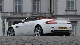 aston martin, v8, vantage, 2008, white, side view, style, aston martin, building - wallpapers, picture