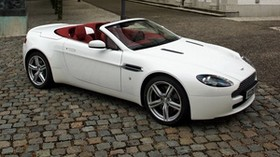aston martin, v8, vantage, 2008, white, side view, style, convertible, street - wallpapers, picture