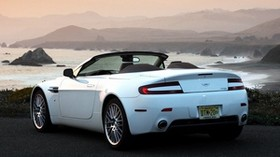 aston martin, v8, vantage, 2008, white, rear view, convertible, mountains, sunset - wallpapers, picture