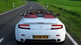 aston martin, v8, vantage, 2008, white, rear view, style, aston martin, nature - wallpapers, picture