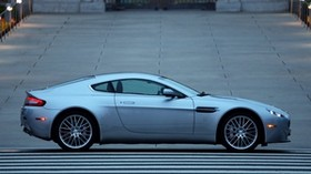 aston martin, v8, vantage, 2008, blue, side view, auto, aston martin - wallpapers, picture