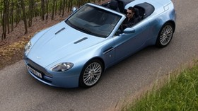 aston martin, v8, vantage, 2008, blue, top view, convertible, style, nature - wallpapers, picture