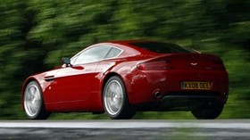 aston martin, v8, vantage, 2008, red, side view, aston martin, trees - wallpapers, picture