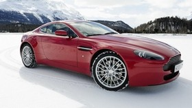 aston martin, v8, vantage, 2008, red, side view, auto, aston martin, snow, mountains - wallpapers, picture