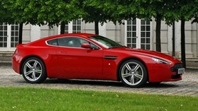 aston martin, v8, vantage, 2008, red, side view, auto, aston martin, building - wallpapers, picture