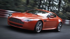 aston martin v8 vantage, 2008, red, front view, speed, aston martin, trees - wallpapers, picture