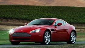 aston martin, v8, vantage, 2008, red, front view, style, aston martin, mountains - wallpapers, picture