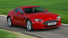 aston martin, v8, vantage, 2008, red, front view, grass - wallpapers, picture