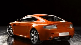 aston martin, v8, vantage, 2008, orange, side view, auto, reflection - wallpapers, picture