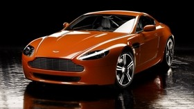 aston martin, v8, vantage, 2008, orange, front view, reflection - wallpapers, picture