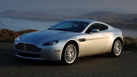 aston martin, v8, vantage, 2008, silver, side view, auto, aston martin, mountains - wallpapers, picture
