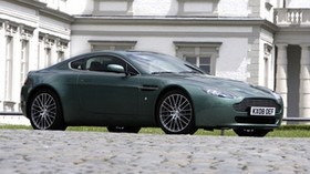 aston martin, v8, vantage, 2008, green, side view, style, aston martin, building - wallpapers, picture