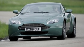aston martin, v8, vantage, 2008, green, front view, style, aston martin - wallpapers, picture
