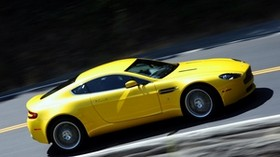 aston martin, v8, vantage, 2008, yellow, side view, auto, aston martin, speed - wallpapers, picture