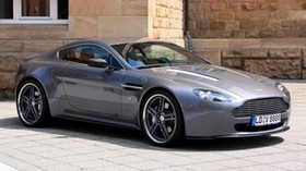 aston martin, v8, vantage, 2009, gray, side view, convertible, style, building - wallpapers, picture