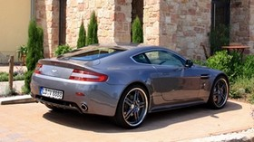 aston martin, v8, vantage, 2009, gray, side view, sport, aston martin, building - wallpapers, picture