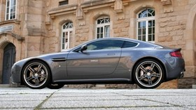 aston martin, v8, vantage, 2009, gray, side view, style, building - wallpapers, picture