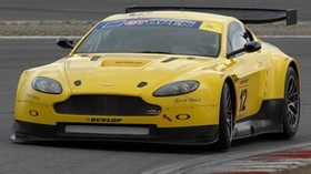aston martin, v8, vantage, 2009, yellow, front view, style, aston martin, asphalt - wallpapers, picture