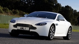 aston martin, v8, vantage, 2011, white, front view, auto, aston martin, trees - wallpapers, picture