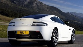 aston martin, v8, vantage, 2011, white, rear view, style, aston martin, mountains - wallpapers, picture