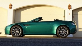 aston martin, v8, vantage, 2011, green, side view, auto, aston martin - wallpapers, picture