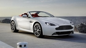 aston martin, v8, vantage, 2012, white, front view, style, aston martin, sea - wallpapers, picture