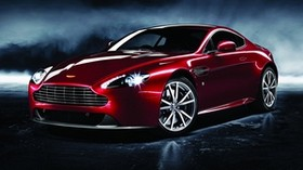 aston martin, v8, vantage, 2012, red, side view, style, aston martin, reflection - wallpapers, picture