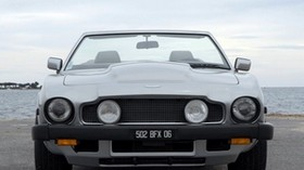 aston martin, v8, volante, 1977, gray, front view, auto, aston martin, sea, convertible - wallpapers, picture