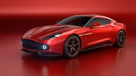 aston martin, vanquish, red, side view - wallpapers, picture