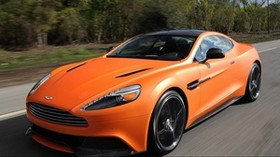 aston martin, vanquish orange, orange, speed, front view - wallpapers, picture
