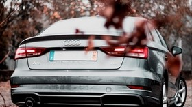 audi a3, audi, rear view, silver, leaf fall - wallpapers, picture
