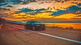 audi a4, audi, car, sunset, road - wallpapers, picture