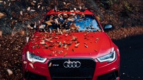 audi, car, front view, red, bumper, foliage, autumn - wallpapers, picture