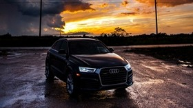 audi, car, sunset, cloudy - wallpapers, picture