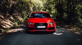 audi, red, car, front view, road, forest, trees - wallpapers, picture
