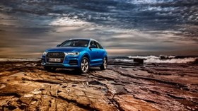 audi, q3, tfsi, quattro, au-spec, blue, side view - wallpapers, picture