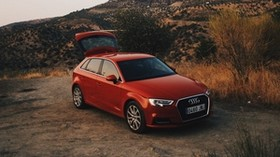 audi q5, red, mountains - wallpapers, picture