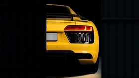 audi r8, audi, bumper, yellow, rear view - wallpapers, picture