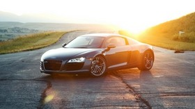 audi r8, audi, sports car, black, road, sunlight - wallpapers, picture