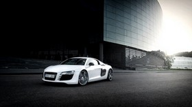 audi, r8, white, building - wallpapers, picture
