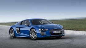 audi, r8, e-tron, blue, side view - wallpapers, picture